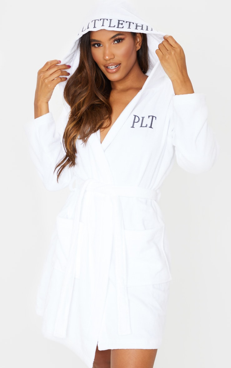 PRETTYLITTLETHING White Hood Detail Towelled Dressing Gown 3
