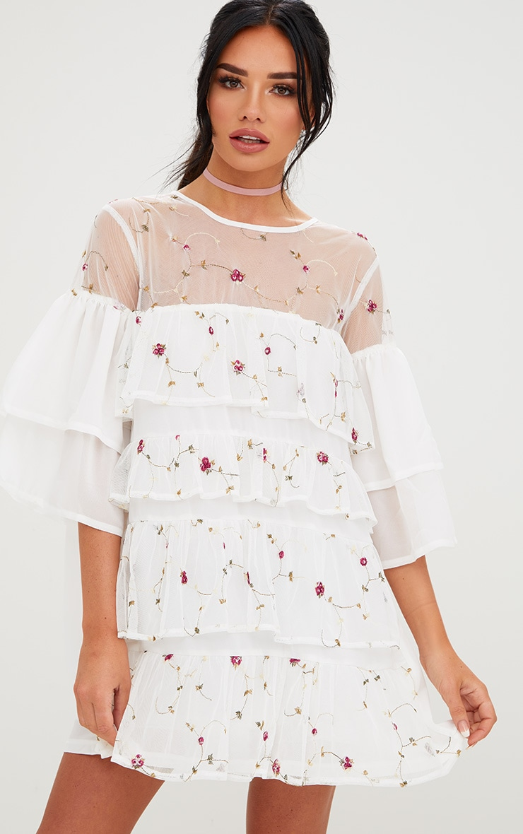 White Embroidered Tiered Mesh Shift Dress 1