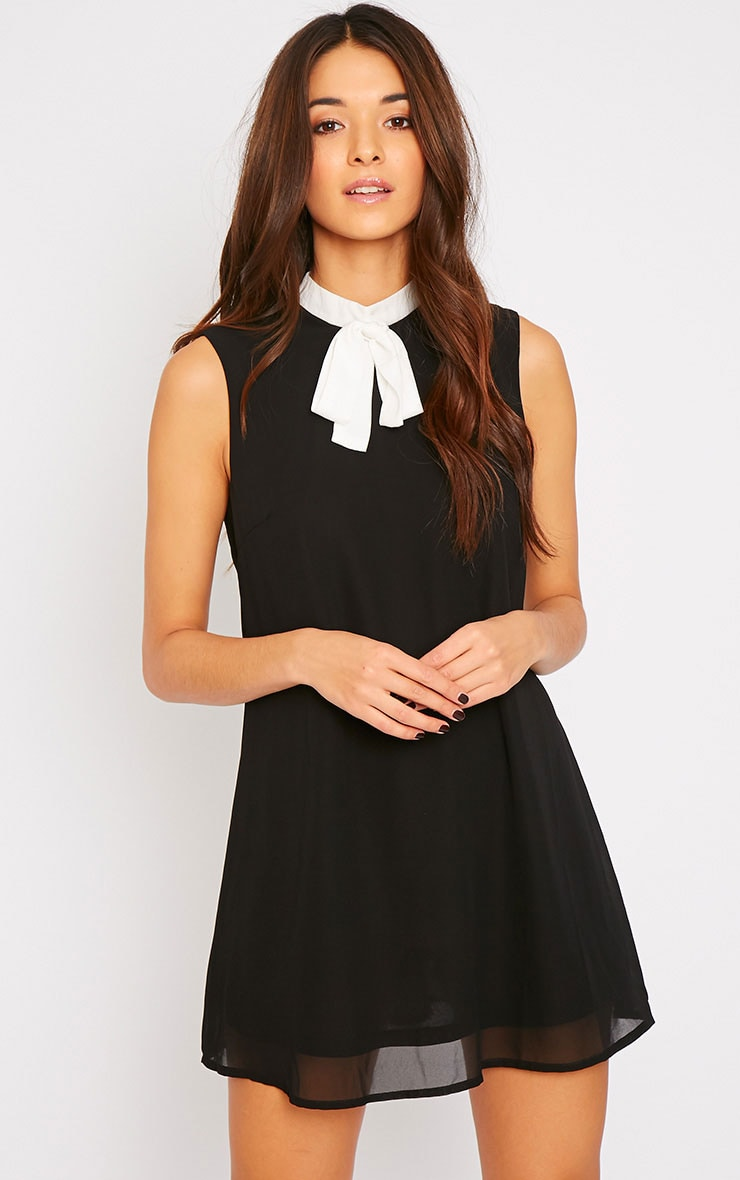 Charlotte Black Neck Tie A Line Dress 1