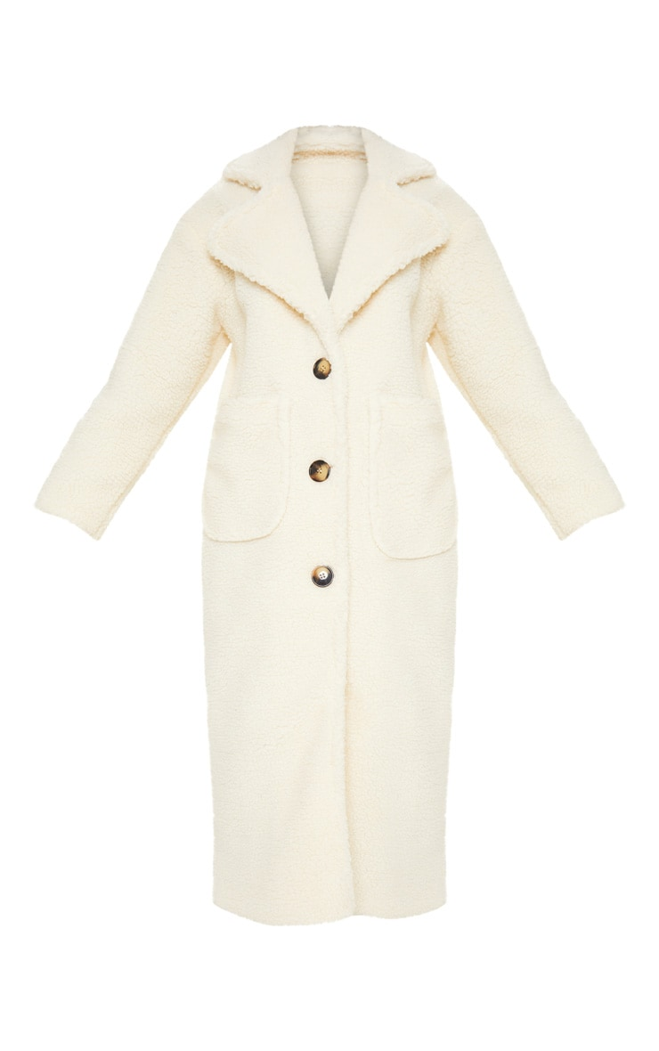Cream Maxi Borg Coat 3