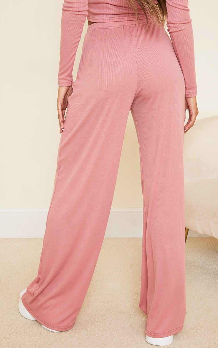 Blush Ribbed Ruched Tie Waist Wide Leg Trousers 3