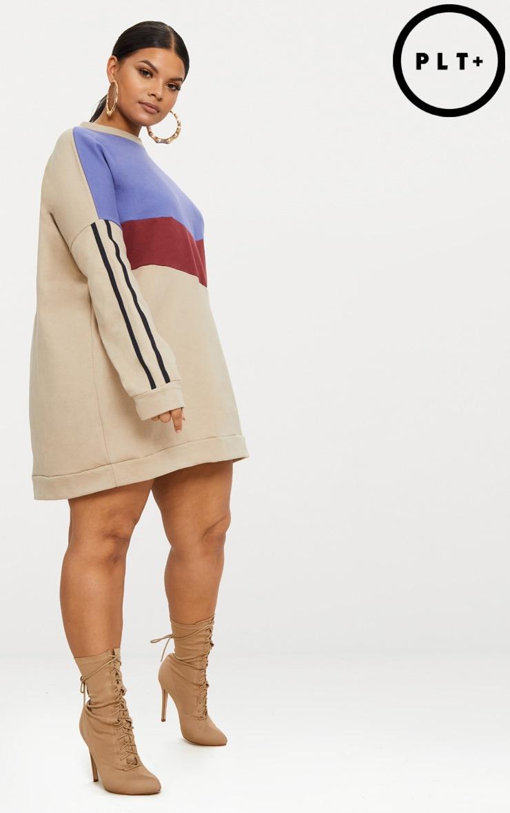 Plus Taupe Chevron Panel Oversized Sweater Dress 4