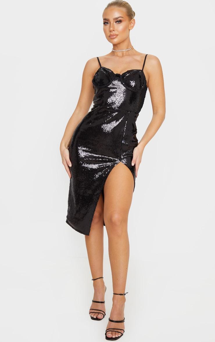 Black Sequin Corset Detail Strappy Midi Dress 1
