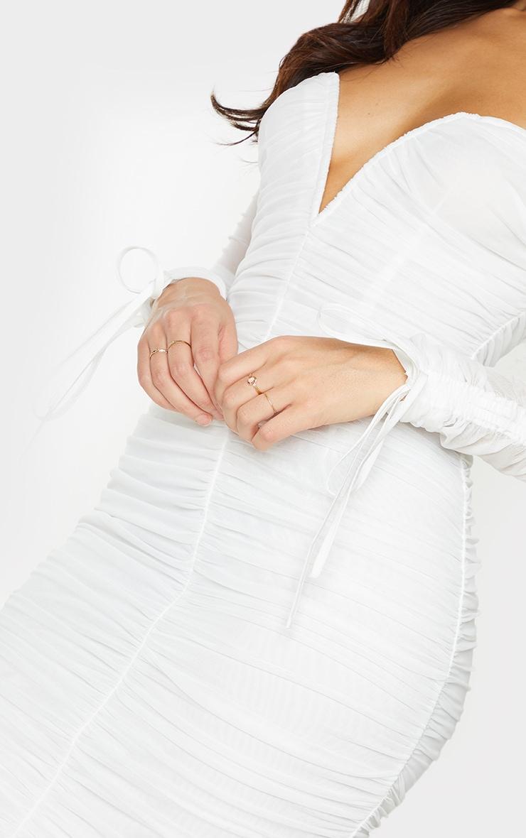White Mesh V Bar Ruched Detail Bardot Midi Dress 4
