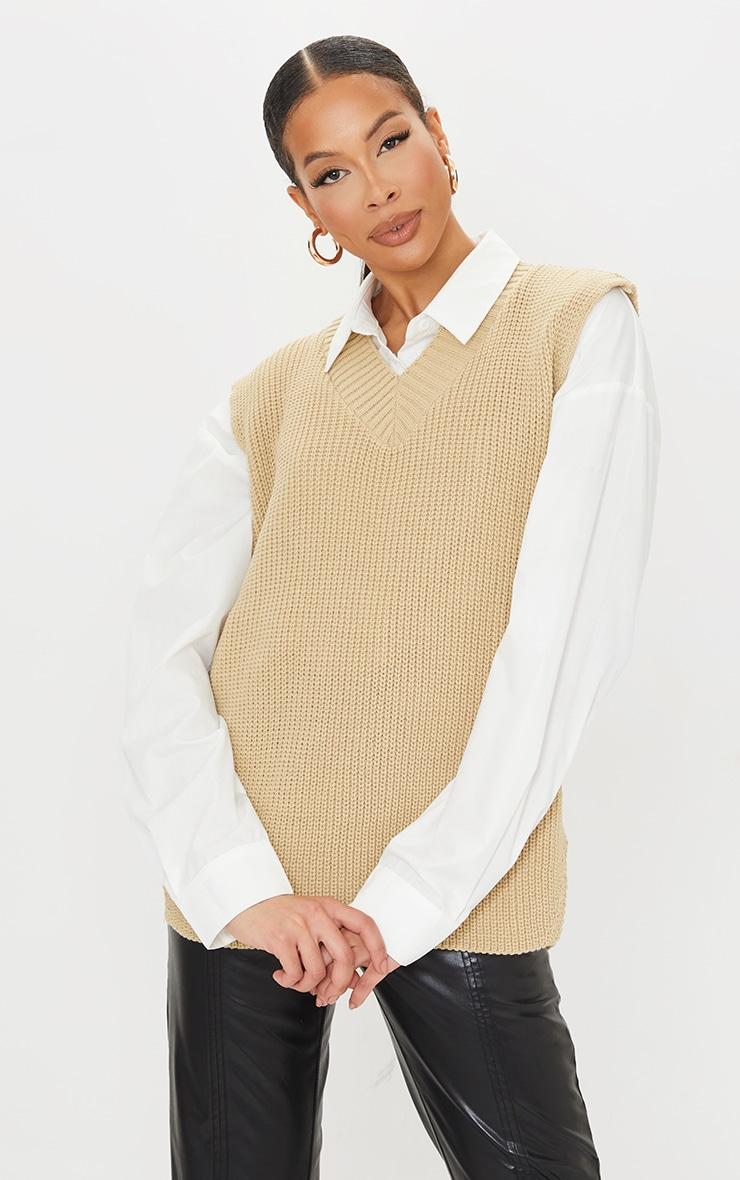 Tall Oatmeal V Neck Knitted Side Split Vest 1