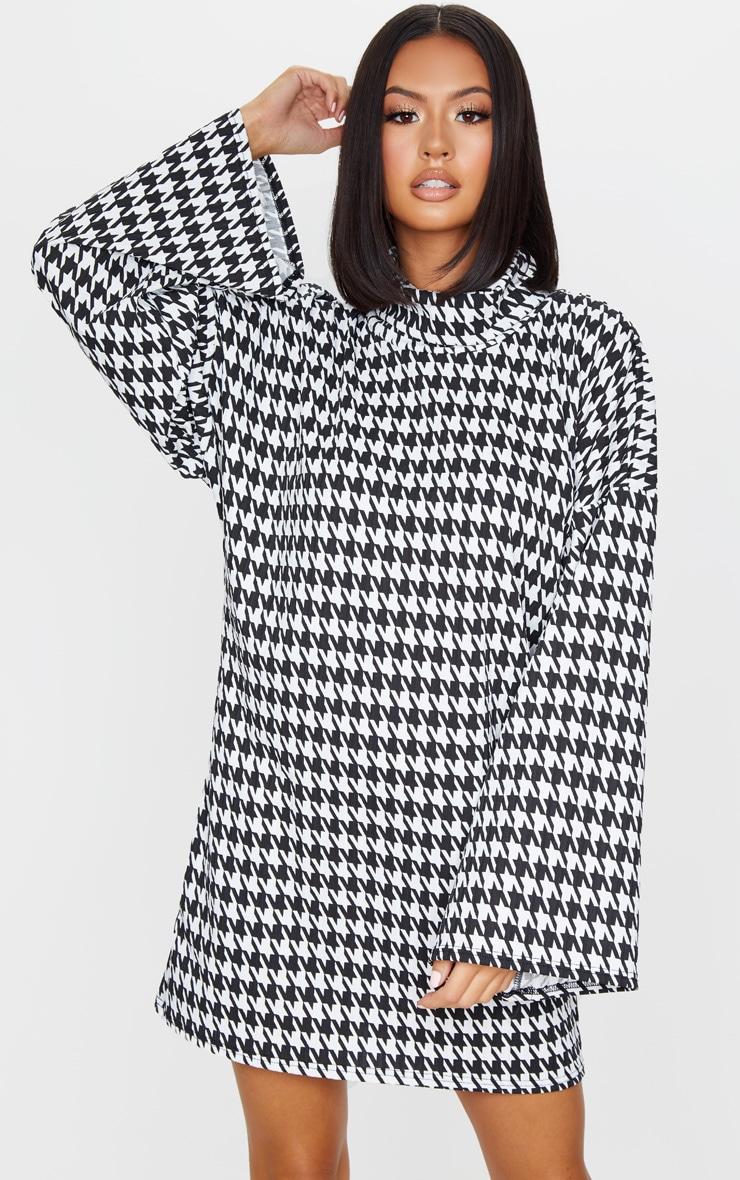 Black Dogtooth Print Rib Roll Neck Flare Sleeve Sweater Dress 1