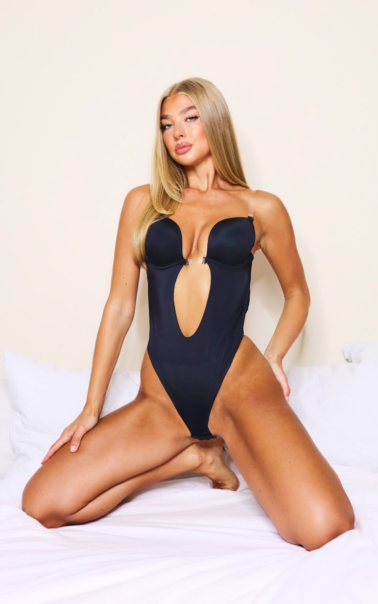 Black Shapewear Plunge Bodysuit 1