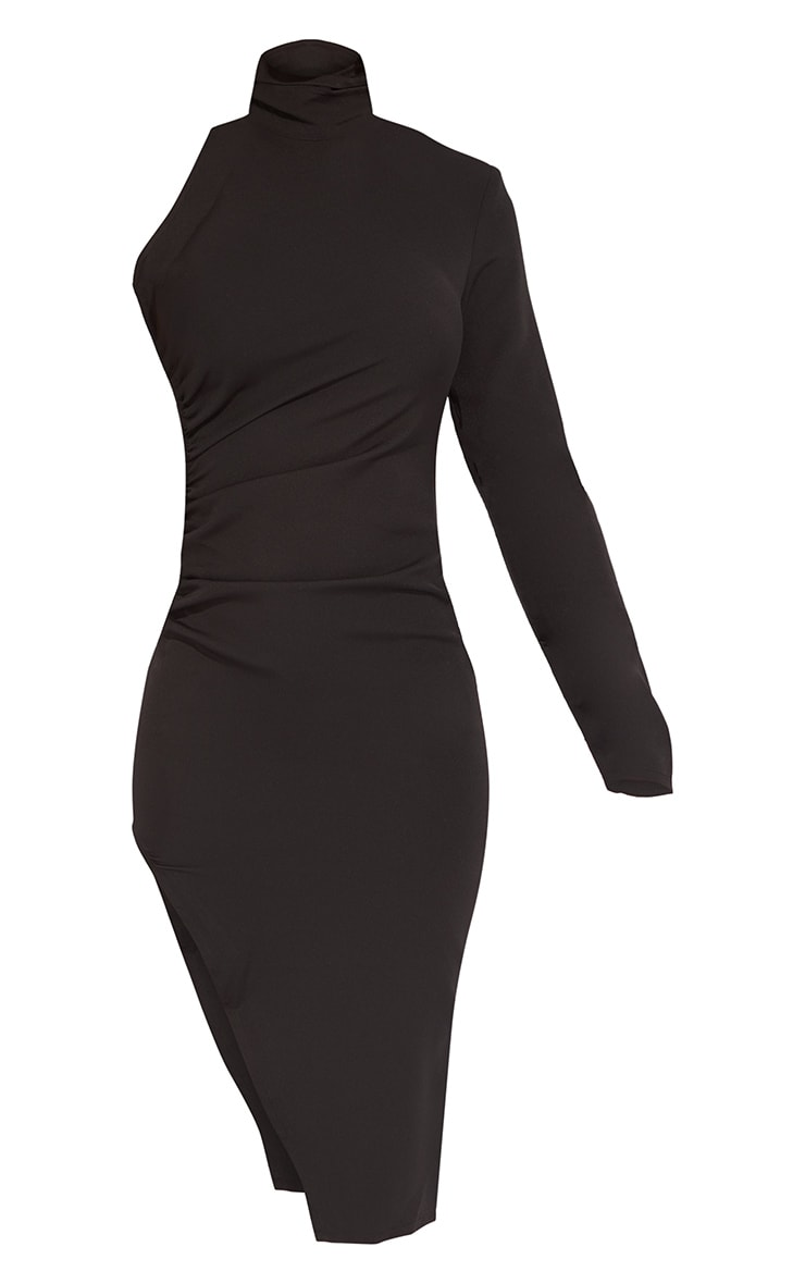 Black One Shoulder Long Sleeve High Neck Midi Dress 2