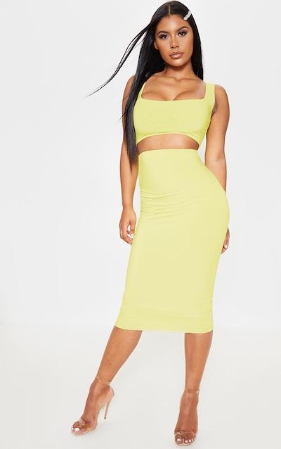 Lime Second Skin Slinky Longline Midi Skirt