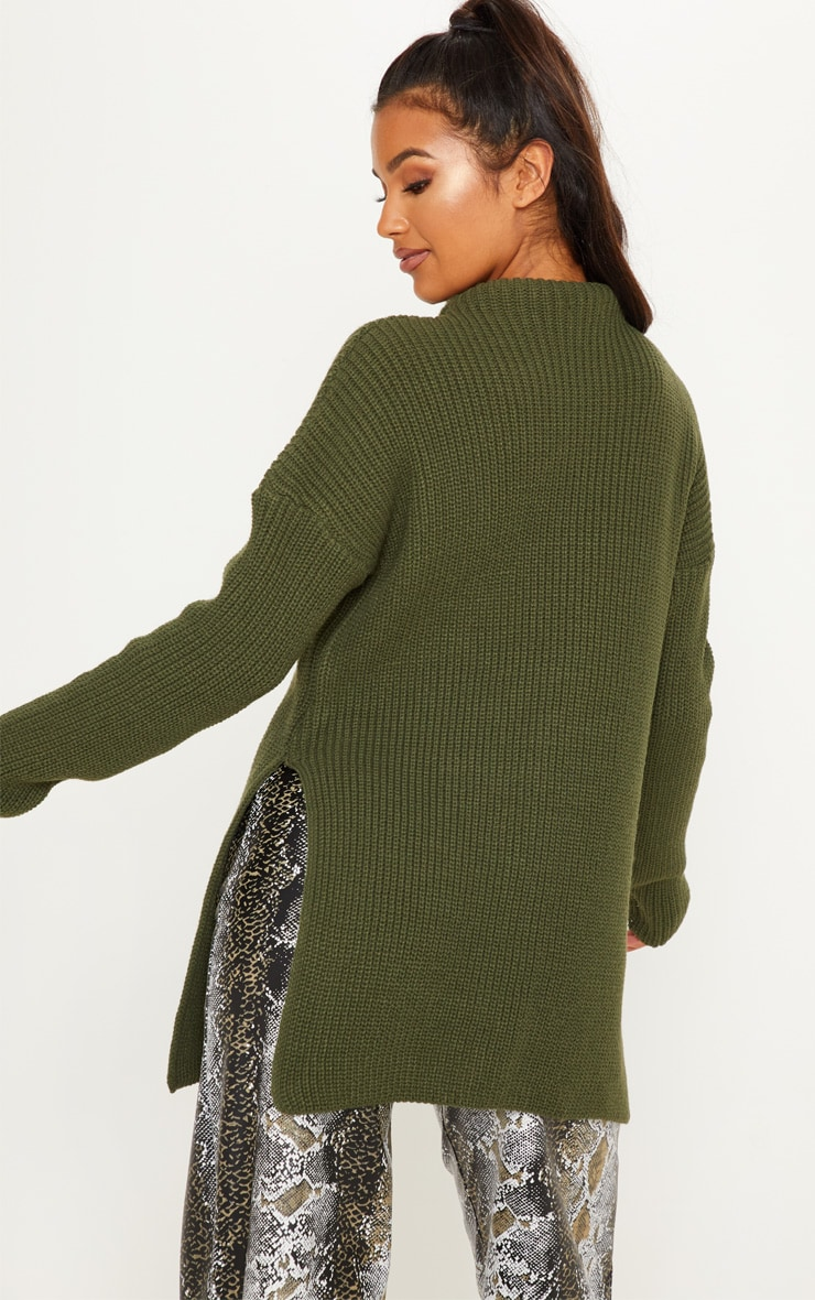 Olive High Neck Oversized Jumper  2