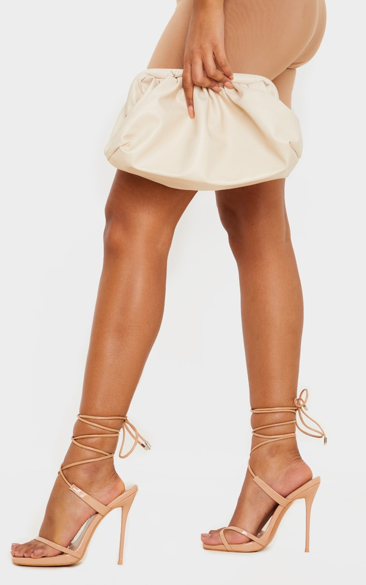 Nude Square Toe Toe Thong Ankle Strappy Heeled Sandals 1