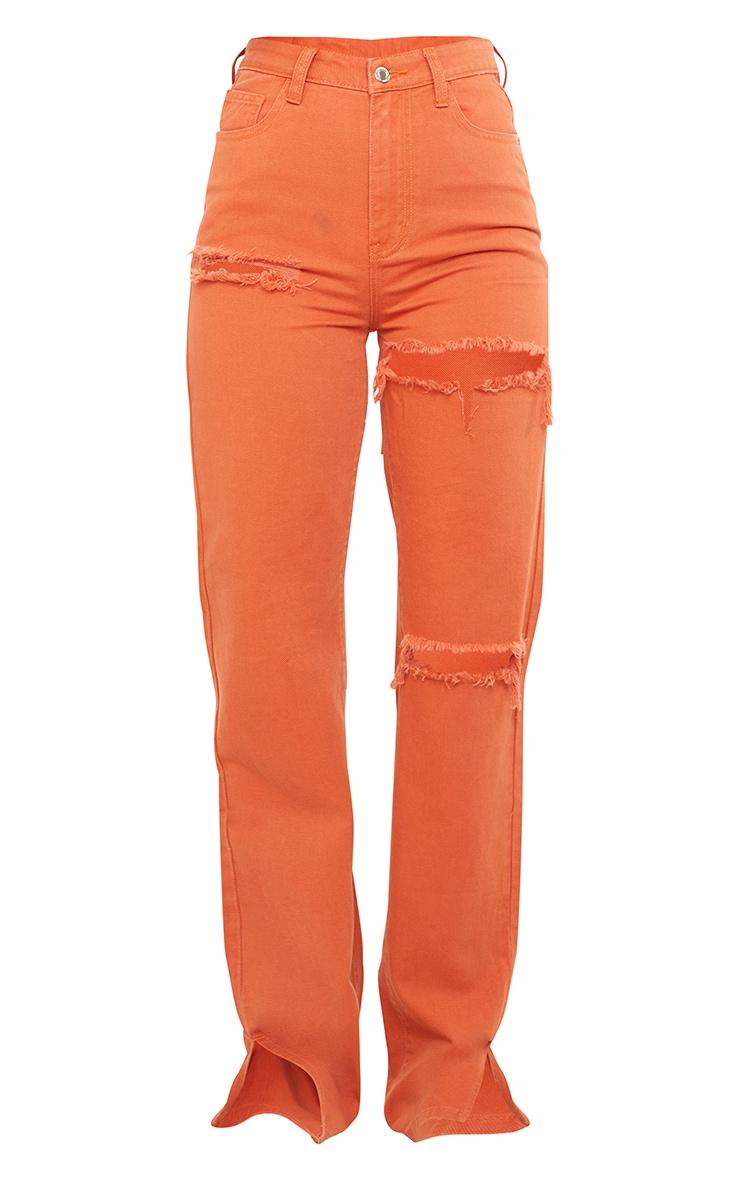 Tall  Rust Tall  Wash Ripped Split Hem Jeans 5
