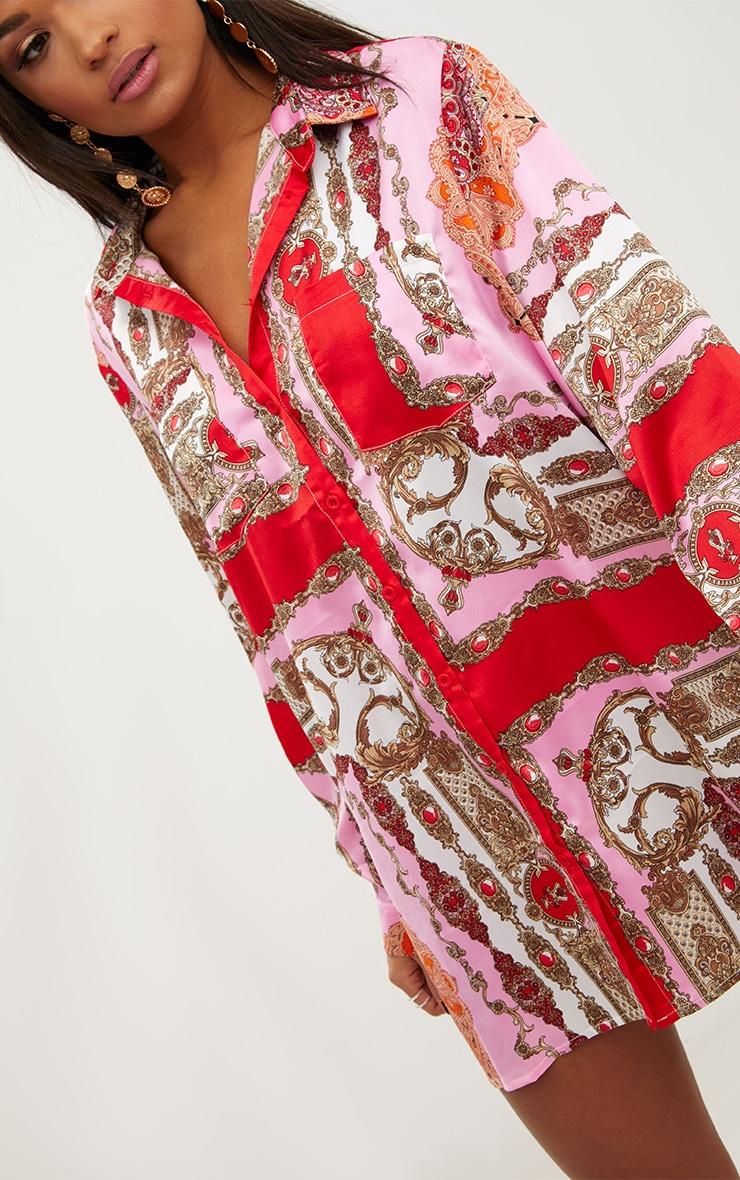 Pink Scarf Print Shirt Dress 5