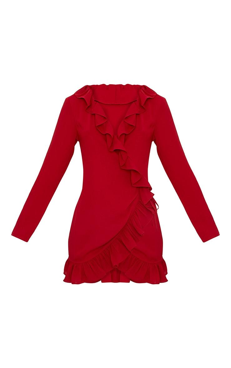 Neeko Red Frill Wrap Shift Dress 3