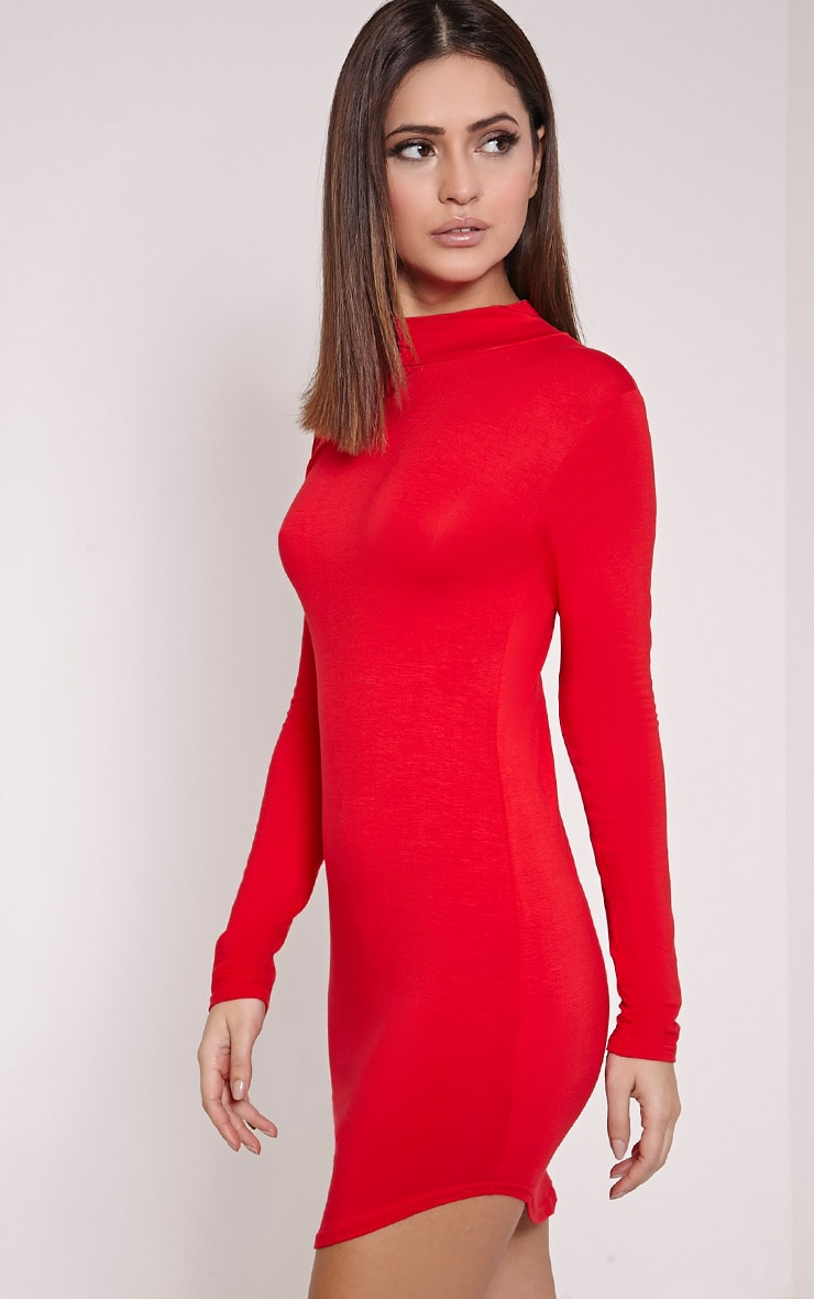 Alby robe col montant rouge à ourlet arrondi 3