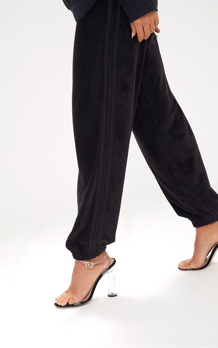 Black Velour Side Stripe Joggers  5