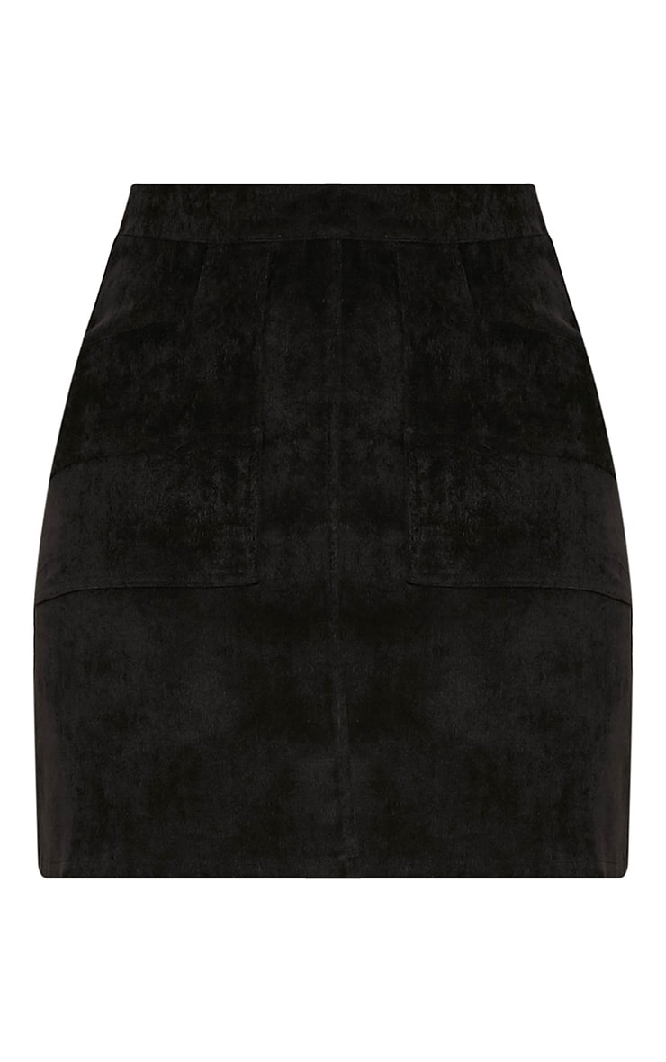 Connie Black Cord Pocket Mini Skirt 2