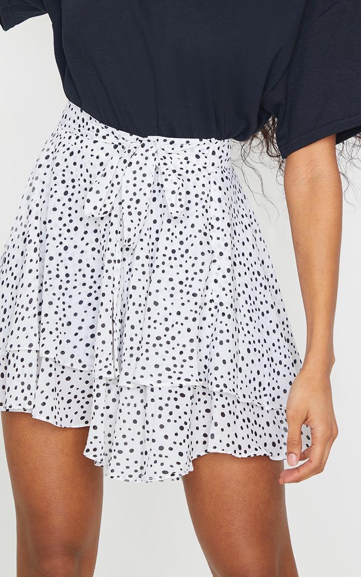 White Polka Dot Tie Waist Frill Hem Skater Skirt 5