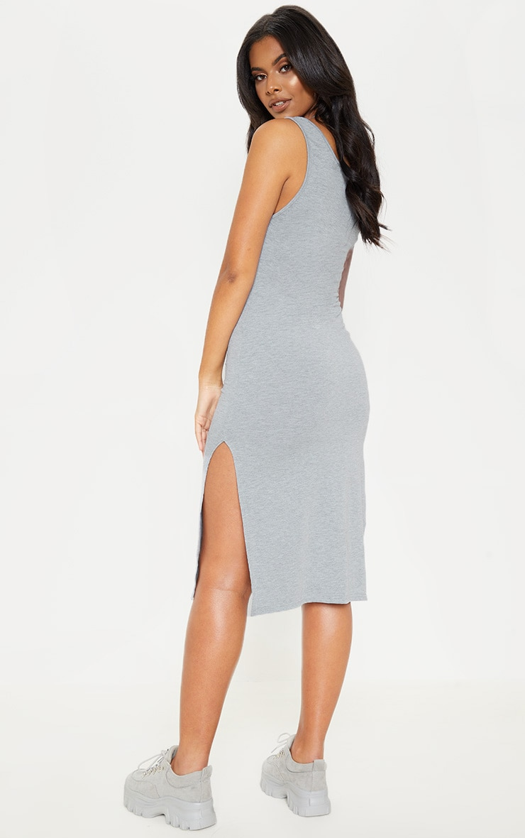Grey High Neck Drop Arm Hole Midi Dress 2