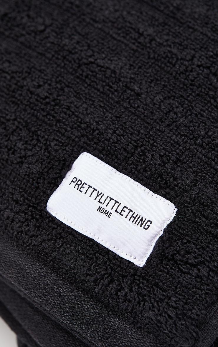 Black Textured Ribbed Cotton Medium Bath Towel  4
