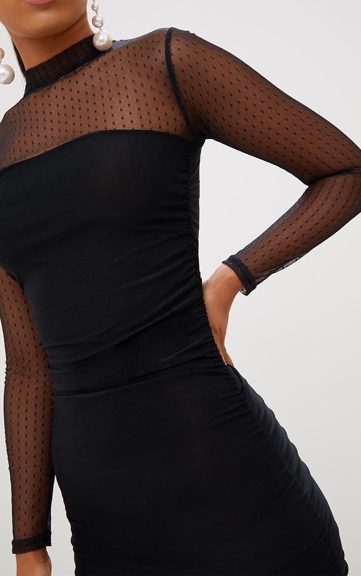 Black Dobby Mesh Bodycon Dress 6