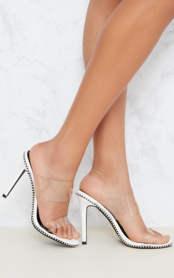 White Studded Clear Mule  1