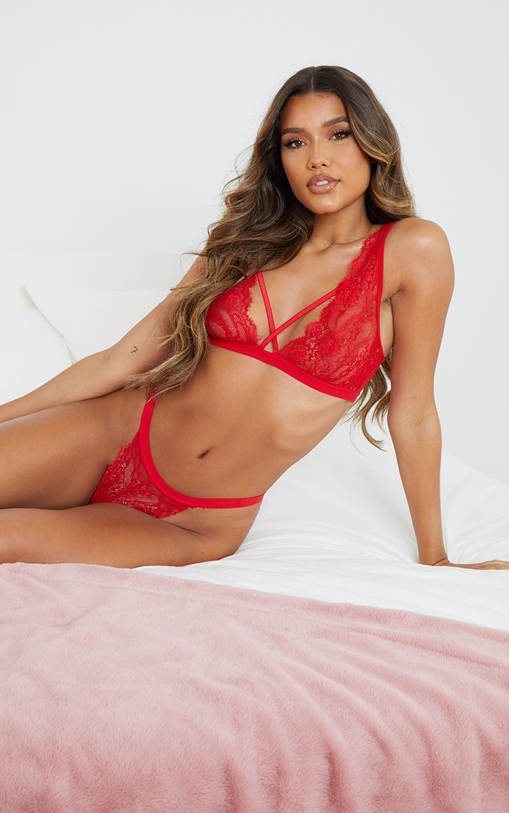 Red Cross Front Strap Lace Bra 1