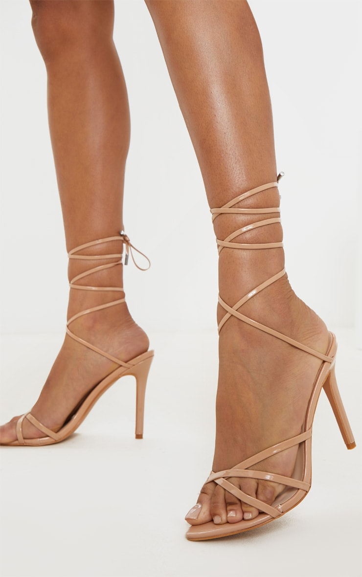 Nude Point Toe Thong Strappy High Heel Sandal 1