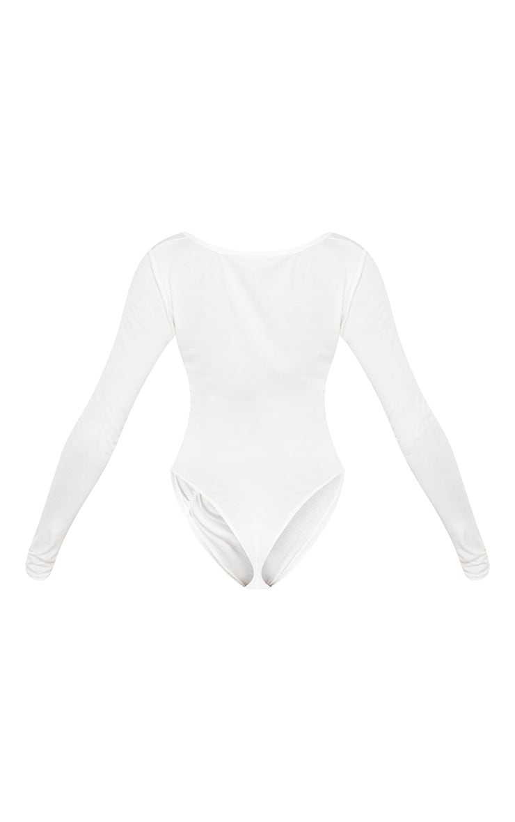 Cream Jersey Ruched Asymmetric Long Sleeve Bodysuit 6