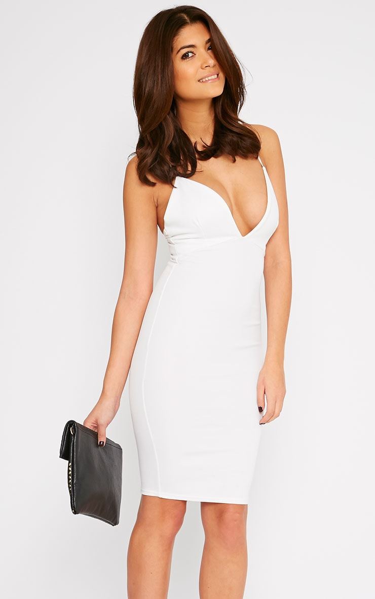 Nada Cream Plunge Cross Back Midi Dress 1