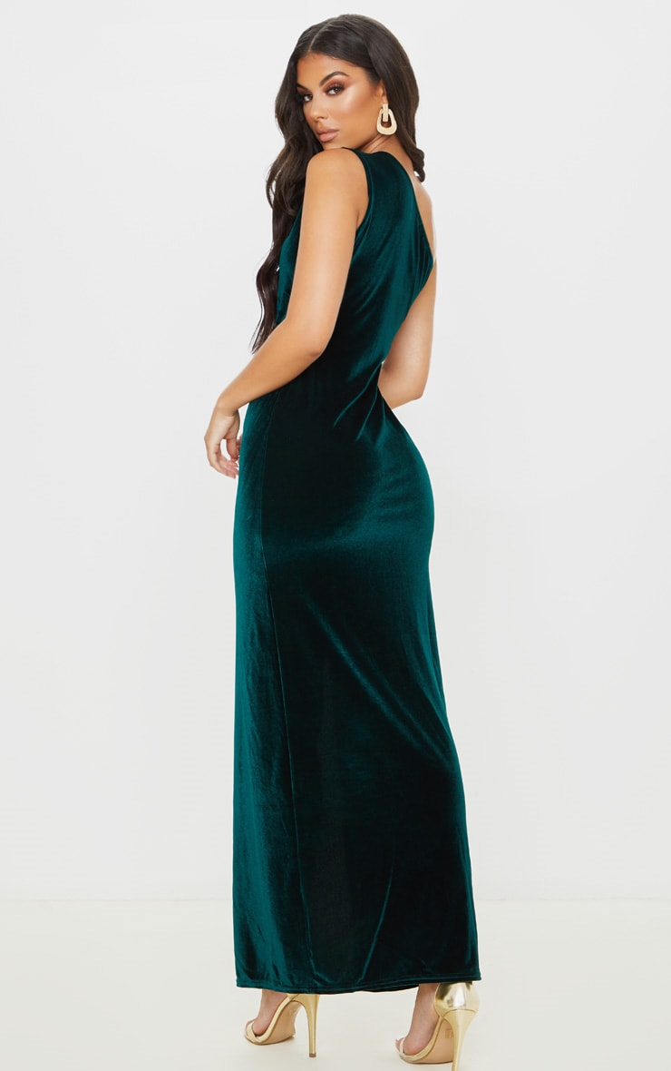 Emerald Green Velvet One Shoulder Split Leg Maxi Dress 3