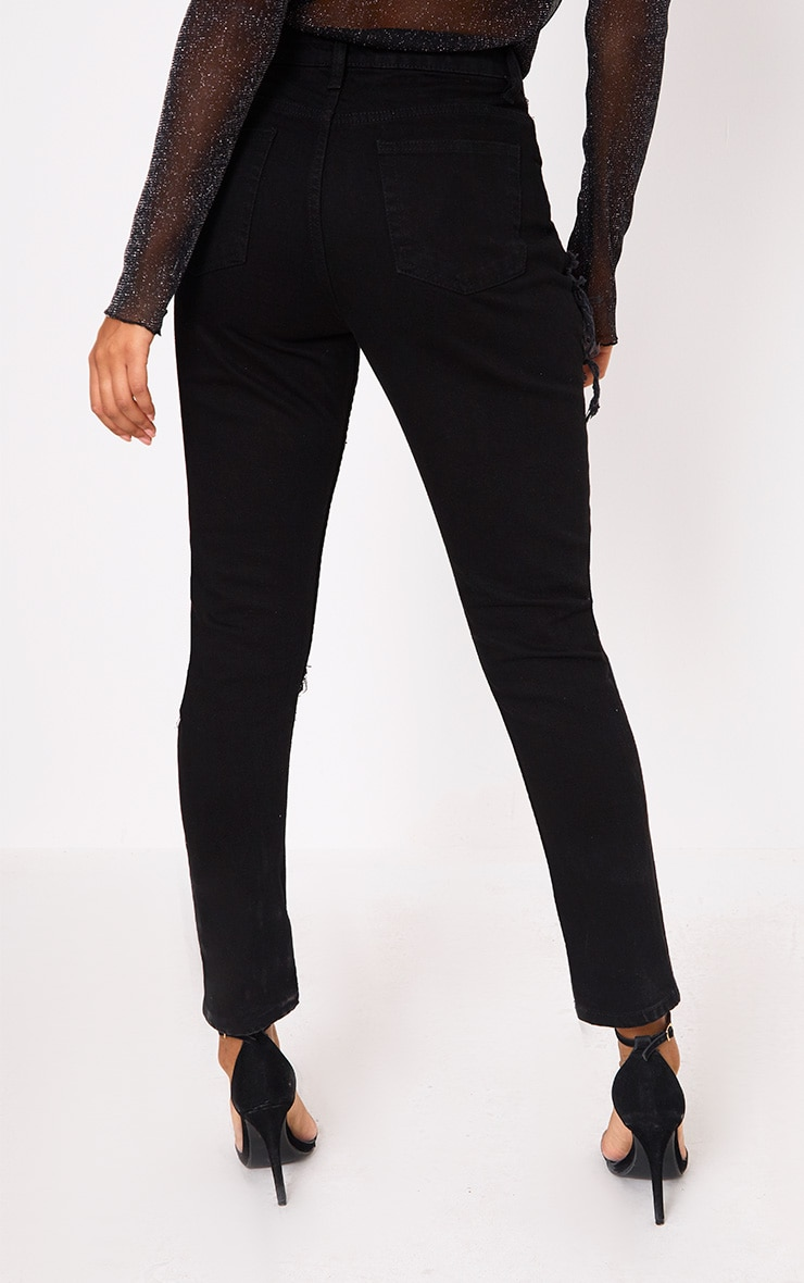 Black Ripped Straight Leg Jean 3