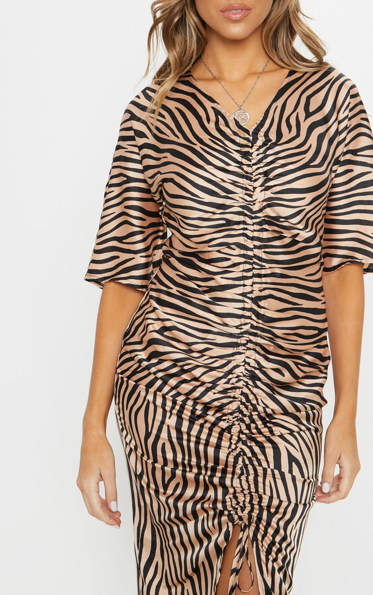 Tiger Print Ruched Front Midi Dress 5