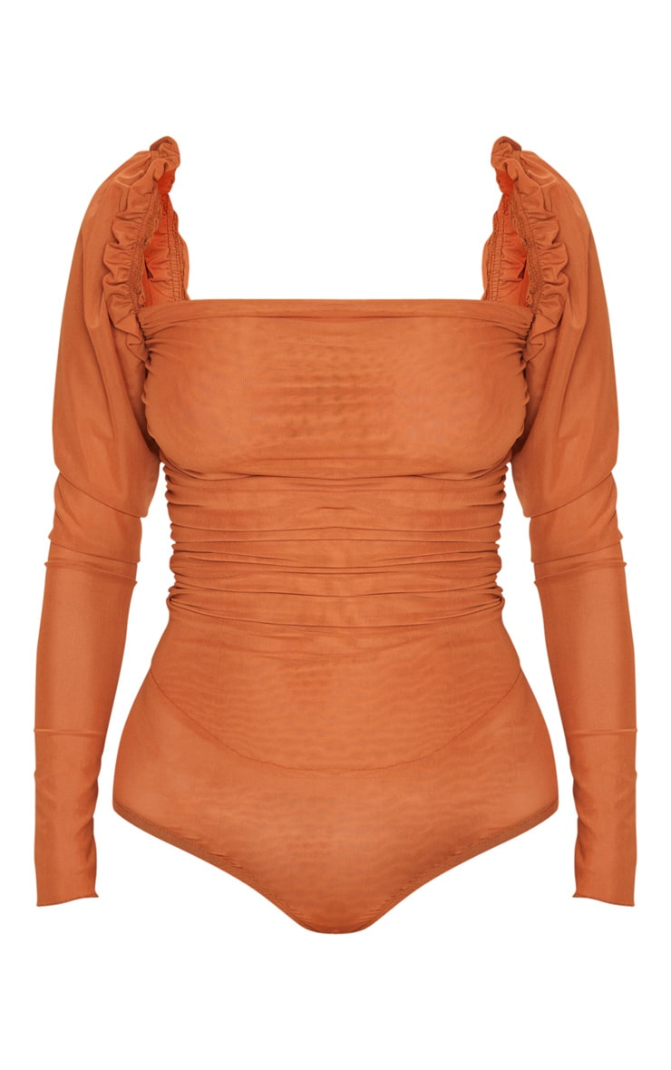 Rust Sheer Mesh Ruched Puff Sleeve Bodysuit 3