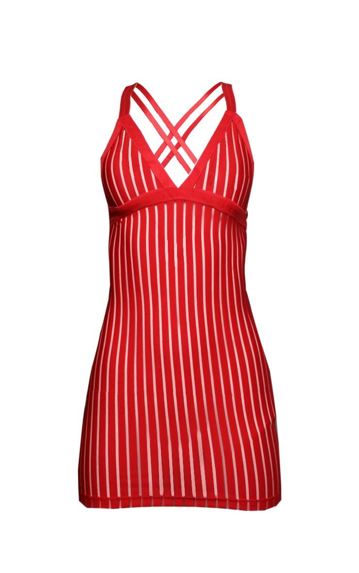 Red Stripe Mesh Slip Dress 3