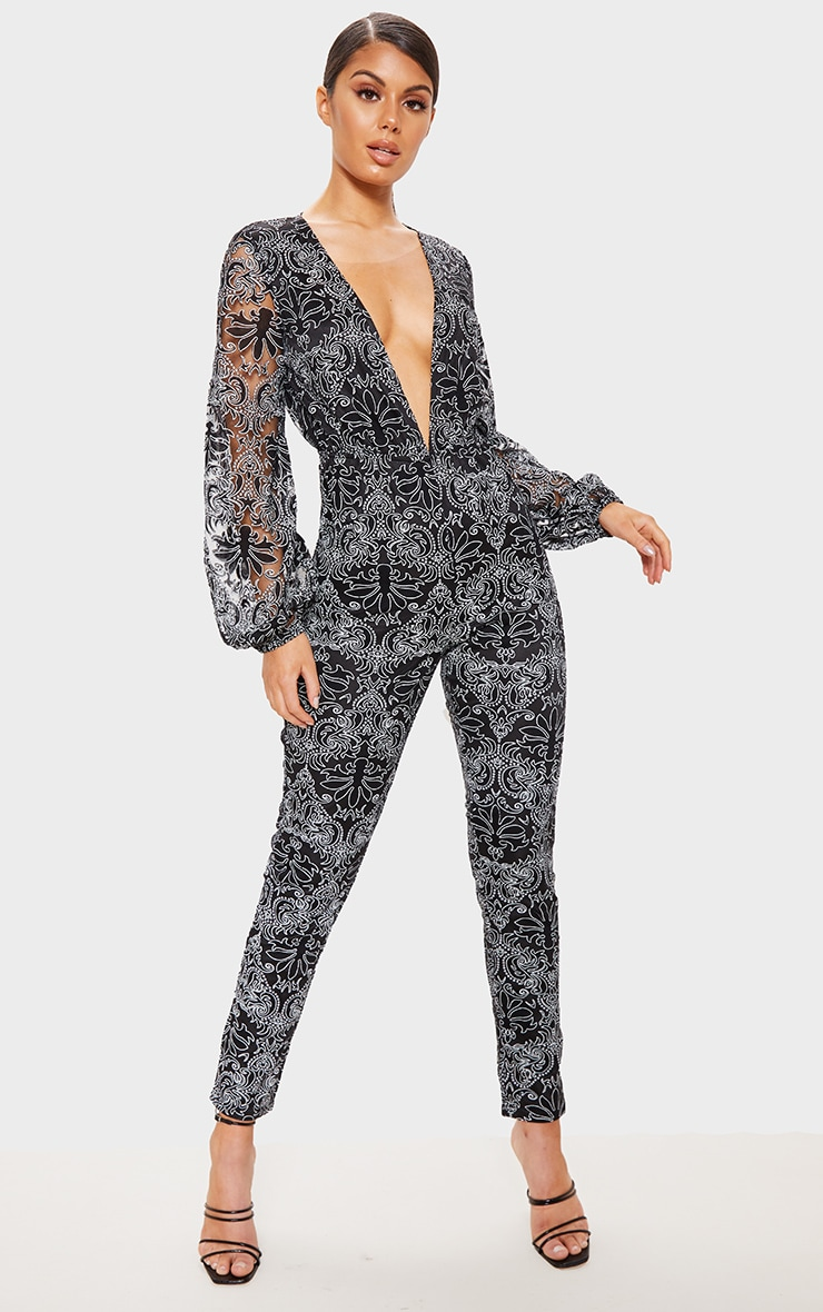 Black Sheer Paisley Long Sleeve Jumpsuit 1