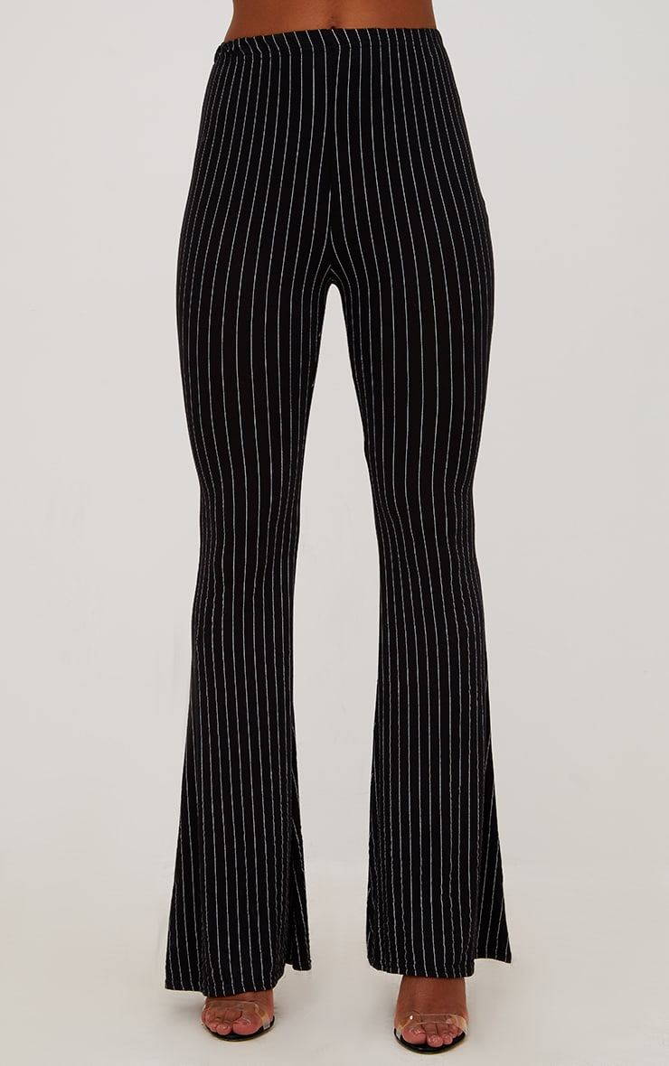 Black Jersey Pinstripe Flared Pants 2