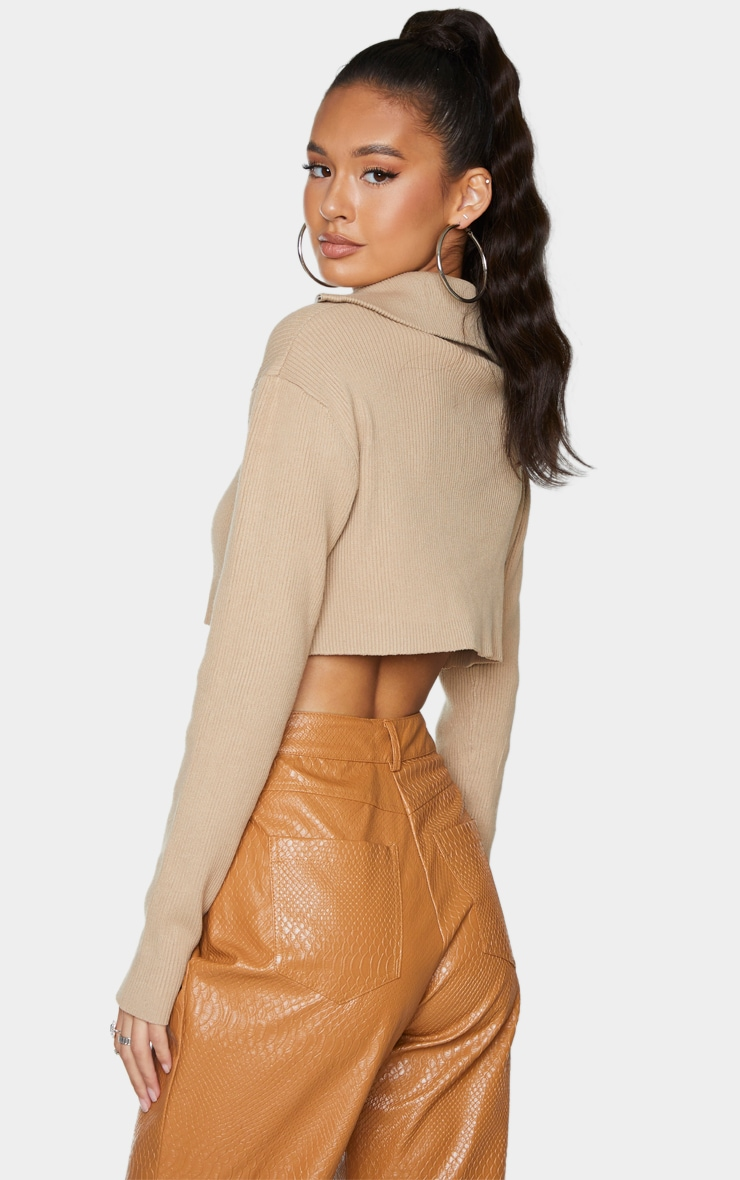 Stone Cropped Knitted Zip Up Sweater 2