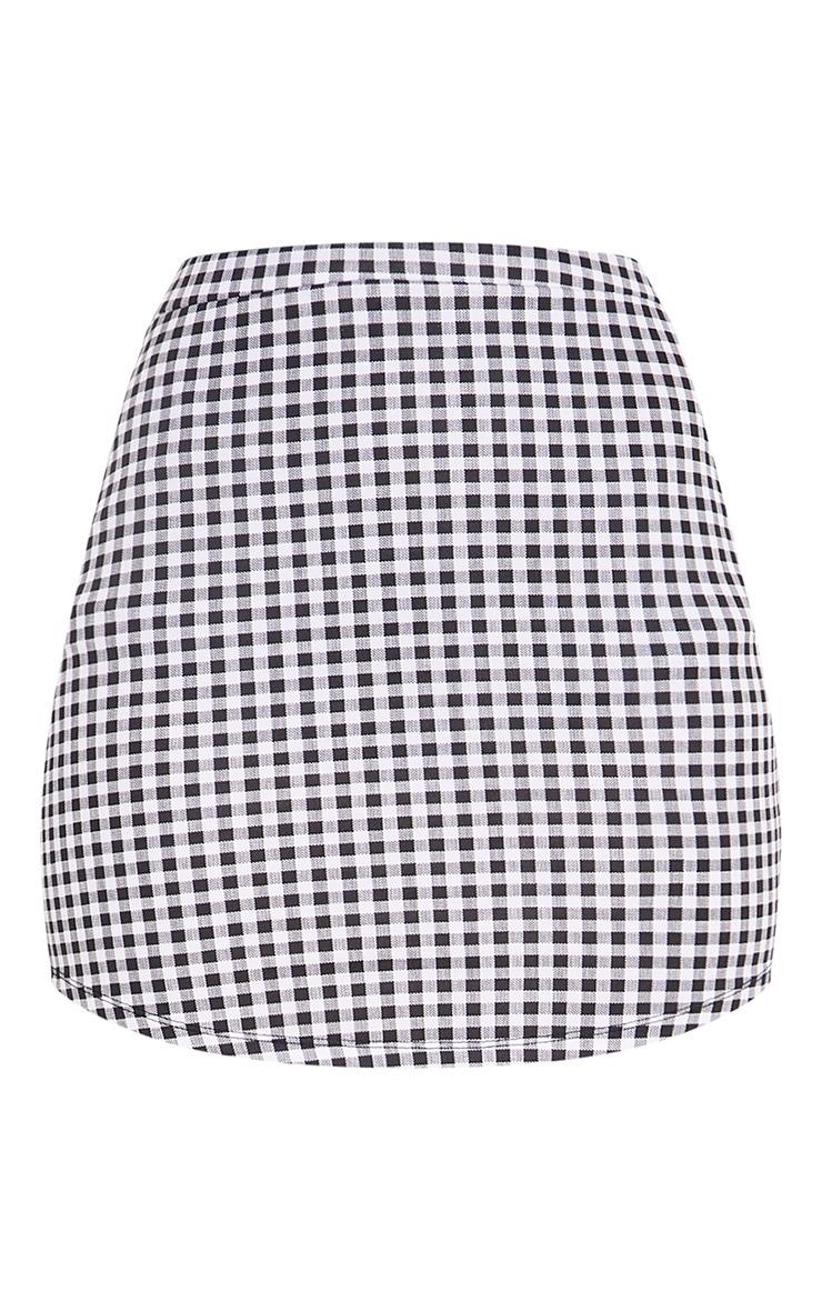 Malena Black Gingham Curve Hem Mini Skirt 3