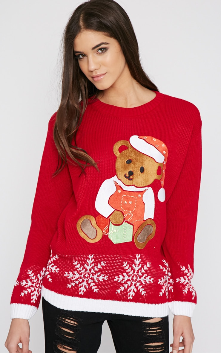 Carol Red Teddy Christmas Jumper 1