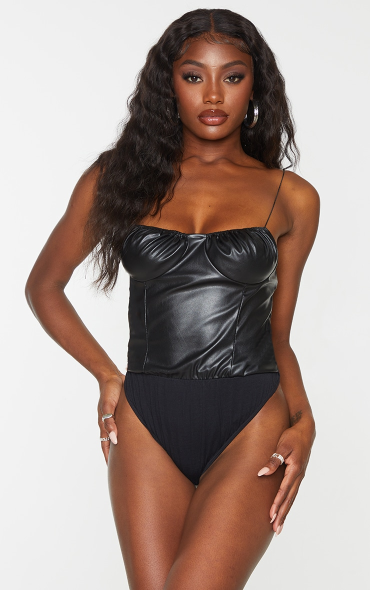 Black PU Ruched Bust Bodysuit 1