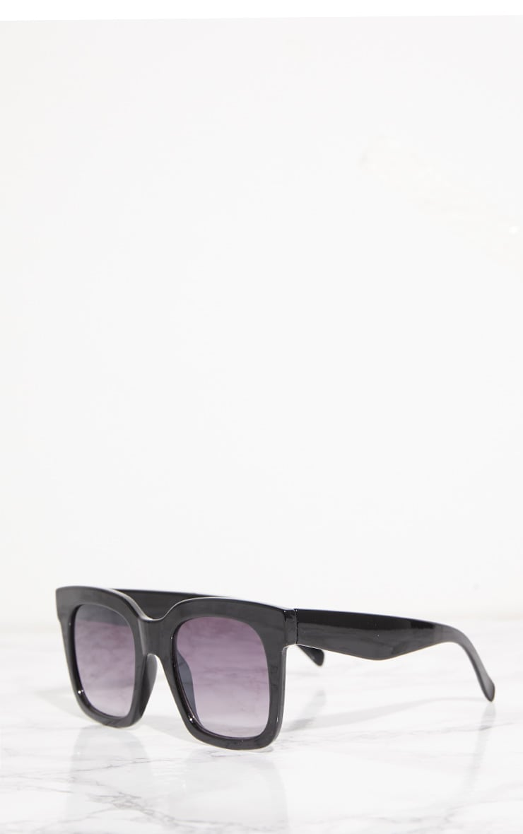 Black Shiny Oversized Square Sunglasses 3