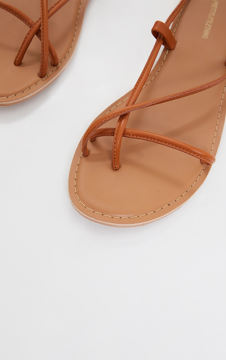 Tan WIDE FIT Real Leather Toe Loop Lace Up  Sandals 4