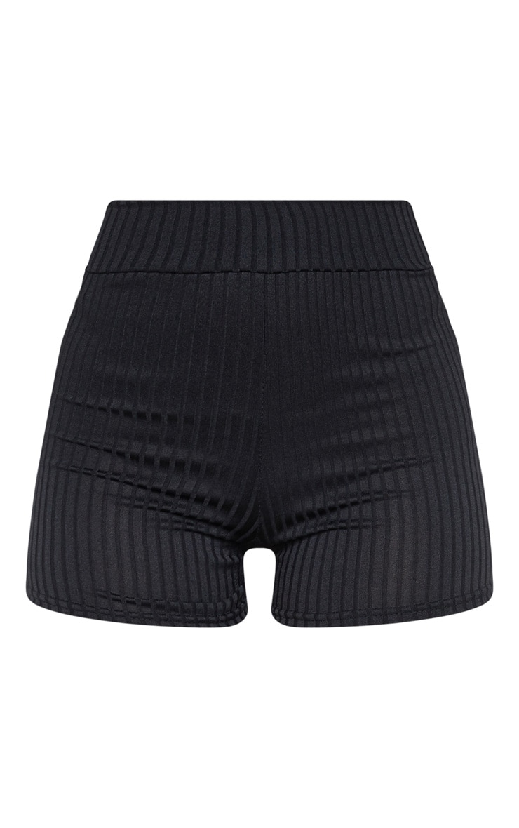 Janice Black Ribbed Shorts 3
