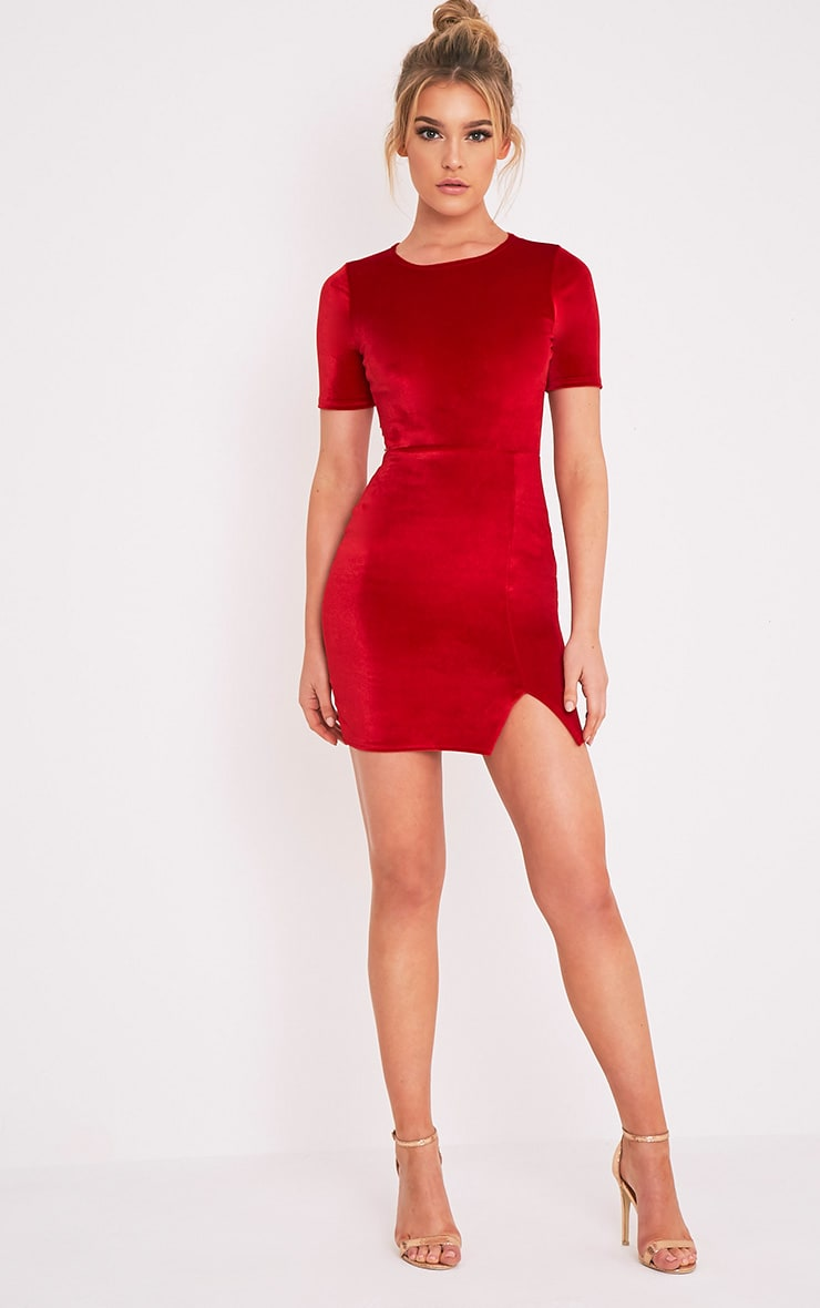 Freyah Red Velvet  Split Detail Bodycon Dress 5