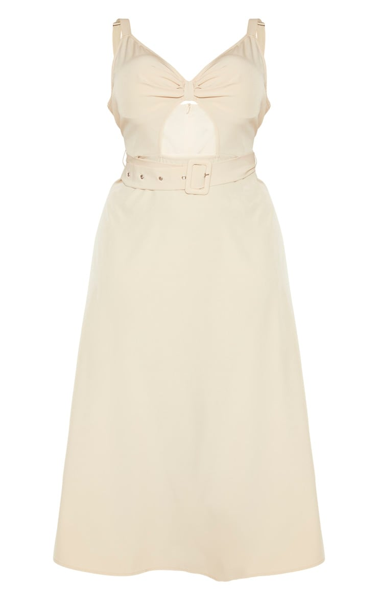 Plus Stone Cut Out Belt Detail Midi Dress  3