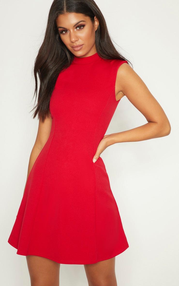 Red High Neck Shoulder Pad Detail Skater Dress 4