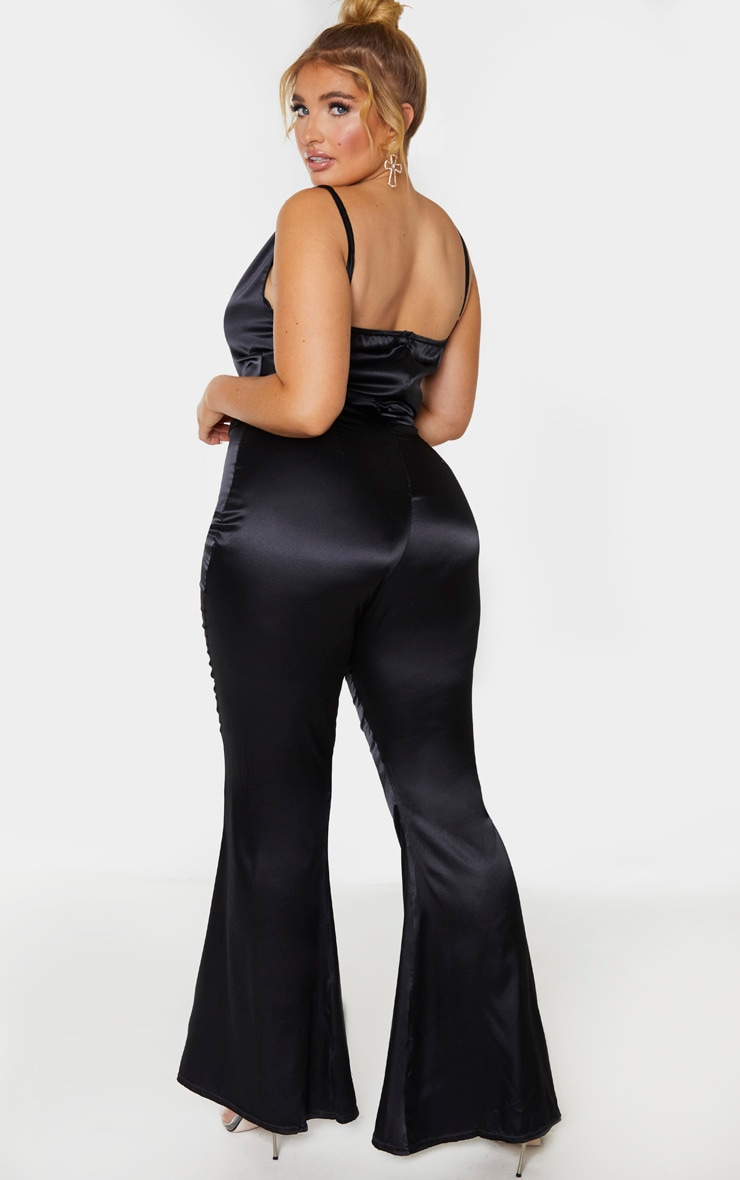 Plus Black Cowl Neck Satin Flared Jumpsuit 2