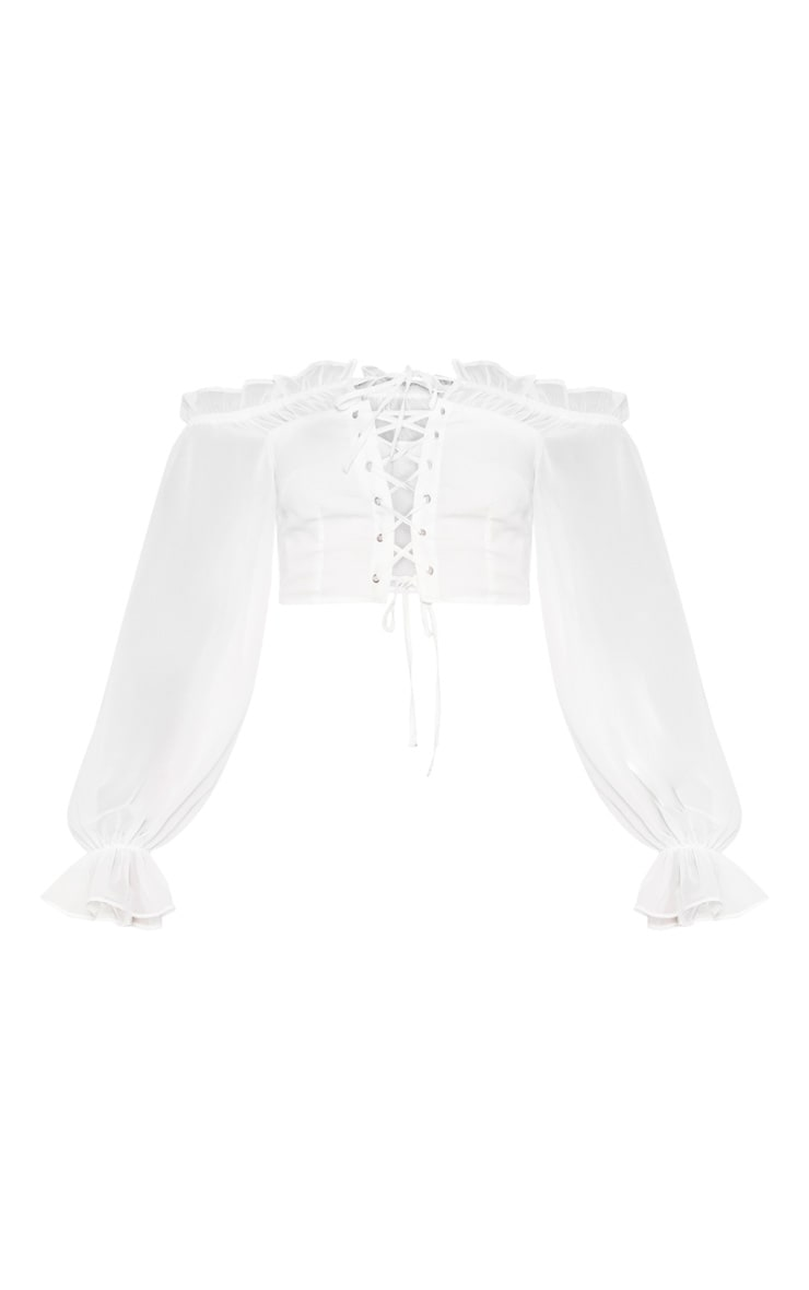 White Cropped Lace Front Long Sleeve Blouse 3