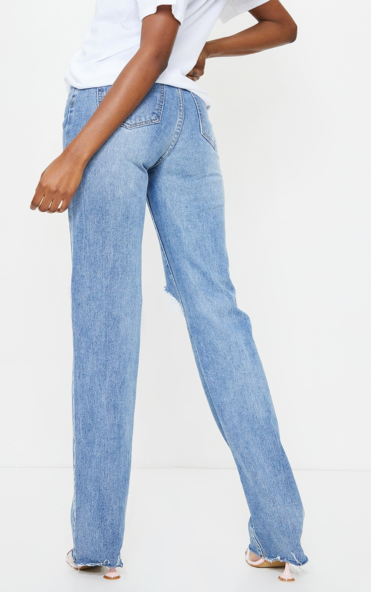 PRETTYLITTLETHING Tall Mid Blue Wash Distressed Long Leg Straight Jean 3